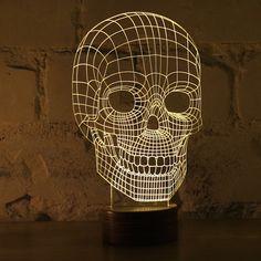 optical illusion skull lamp