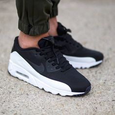 Nike Shoes OFF! ►► Sell and buy Nike Air Max 90 Ultra Moire Black White Trainers - from category Nike Air Max 90 (Nike Air Max Shoes On Sale) cheap price Reebook Shoes, Nike Shoes Outfits, Nike Free Shoes, Shoes Style, Black And White Trainers, Red Trainers, Black White, Cheap Nike Air Max, New Nike Air