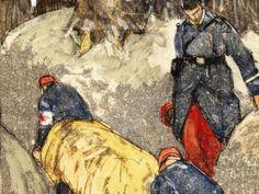 """""""Brancardiers de la croix rouge"""", 1916, by Mathurin Méheut. Musée Mathurin Méheut"""