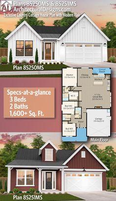 Architectural Designs Exclusive Affordable Farmhouse Plan 85250MS U0026 85251MS  | 3 Beds | 2 Baths |