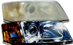 "How many times have you seen this image to advertise Headlight Restorations? Funny thing, We took this photo & edited it in 2008 and now it's all over as ""proof"" that their products work."