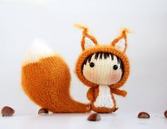 Squirrel Doll with removable tail  pdf knitting pattern