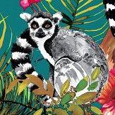 Albany Lemur Teal Wallpaper
