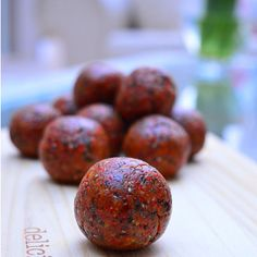 Goji Berry Bliss Balls Recipe Desserts with almonds, sunflower seeds, goji berries, chia seeds, cinnamon, raw cacao powder, maple syrup, coconut oil, medjool date, sea salt