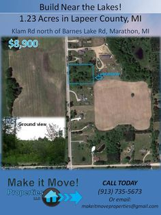 FOR SALE: 1.23 Acres residential land in Marathon Township, MI.  We'll take cash offers.  Call us: 913-735-5673 or email: makeitmoveproperties@gmail.com for more information. #RealEstate #Land #Investment #Michigan