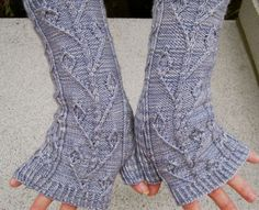 Knit Mitt Pattern:  Twisted Ivy Fingerless Mitt Knitting Pattern