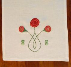 Modern Craftsman, Arts & Crafts Style, Hand Embroidery,  Rose Linen Table Runner. Made to Order by Arts & Crafts Stitches  acstitches.com