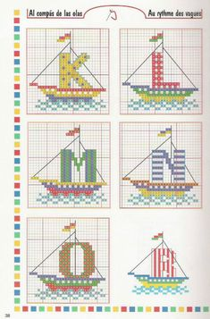 cross stitch alphabet nautical sailboats letters for sails INCOMPLETE : MISSING t,u,v,w 3 of 6