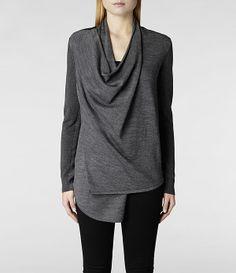 Womens Drina Cardigan (Charcoal) | ALLSAINTS.com