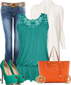 Orange_and_teal_look find more women fashion ideas on www.misspool.com