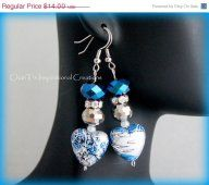 Mothers Day SALE Blue Black and Silver Handmade Heart Earrings by CICinspireme
