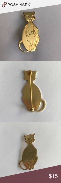 "Engraved Cat Pin This gold-tone cat is sitting pretty and just waiting for you! Engraved with the name ""Vicky"" Vintage Jewelry Brooches"