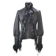Schwarzes Rüschenhemd Dark Baron