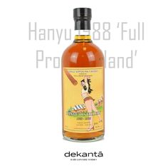 Hanyu 1988 'Full Proof Holland' : It is from one of the 400 remaining casks that were saved after the distillery was dismantled. Jeroen Koetsier from Full Proof Holland ordered a half cask of Hanyu in 2006, he liked it so much that he ordered the other half shortly after. The labels were designed by the Dutch artist Hans Dillesse. Japanese Whisky, Dutch Artists, Distillery, Hot Sauce Bottles, Holland, Brewing, Alcohol, The Nederlands, Rubbing Alcohol