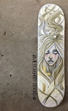 Oil paints on wood skateboard deck by Jamie Lynn Dougherty aka Jamie Dougherty Designs. Inspired by the sepia look in vintage photos and emotions of everyday life...Sometimes beautiful sometimes not. #ElementEdenArtSearch