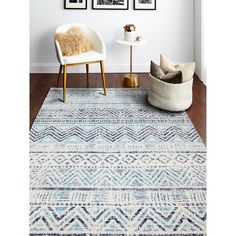 """Power Loom Zeisha Rug (4' x 6' - 3'6"""" X 5'6""""), Blue Chevron Rugs, Moroccan Blue, Rectangular Rugs, Home Decor Trends, Decor Ideas, Transitional Style, Online Home Decor Stores, Beige Area Rugs, Entryway Decor"""