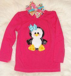 Toddler Girl Applique Shirt / Penguin Applique Tshirt / Boutique shirt set by PunkersNPie on Etsy