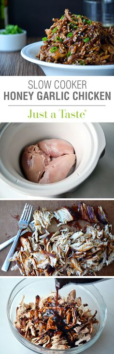Slow Cooker Honey Garlic Chicken #recipe on justataste.com