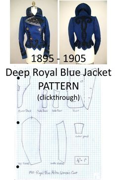 1895 - 1905 Deep Royal Blue Jacket Pattern (clickthrough for full size pattern and instructions)