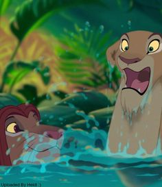 Nala probably experiencing swimming in water for the first time. Her reaction is priceless!! And Simba is just looking so cute :)
