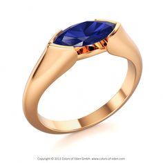 "Blue Sapphire Engagement Ring ""Dragon Eye"" in Rose Gold is a distinctive one with strong charisma"