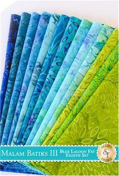 Malam Batiks III 13 Fat Eighth Set - Blue Lagoon Set by Jinny Beyer for RJR Fabrics