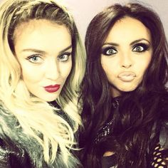 I love the differences in their looks! Perrie's is all about lips and lashes, and Jesy does full on dark eye makeup paired with nude lips.