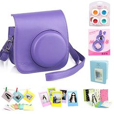 "CAIUL 7-in-1 Fujifilm Instax Mini 8 Film Camera Accessories Bundle | $29.99 (Sold by NODARTISAN, Fulfilled by Amazon) | Purple, Flower, Blue Houndstooth, Galaxy, Galaxy2, Halloween, Blue, Brown, Pink, Casino, Colorful Painting, Cream, Pink & White, Raspberry, Kitty Pink, White II; What You Get [7-in-1 Attractive Packaging]: Instax Mini 8 Camera Case Bag w/Adj Strap, Close-up Selfie Lens, 4 Colors Close-up Lens, Mini Album, 3"" Color Frame, Wall Hang Frame, Film Sticker Borders (camera not…"