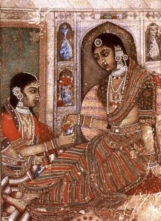 """""""Lady being offered wine, miniature painting from Golconda, Deccan, 1600 AD"""" Mughal Miniature Paintings, Mughal Paintings, Indian Paintings, Ravivarma Paintings, Amazing Paintings, Acrylic Paintings, Painting Art, Mysore Painting, Rajasthani Painting"""
