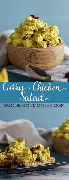Curry chicken salad is a treat! Sweet curry adds an Indian inspired kick to classic chicken salad, making this a great twist on an old favorite. Curry Chicken Salad - Goodie Godmother z Curry Chicken Salad Chicken Curry Salad, Chicken Salad Recipes, Curry Shrimp, Healthy Chicken, Le Curry, Salad Sandwich, Chicken Sandwich, How To Make Salad, Salads