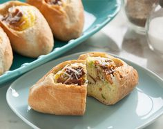 Bacon and Egg Boats, Delicious breakfast foods baked right in our fabulous Mini Baguettes!