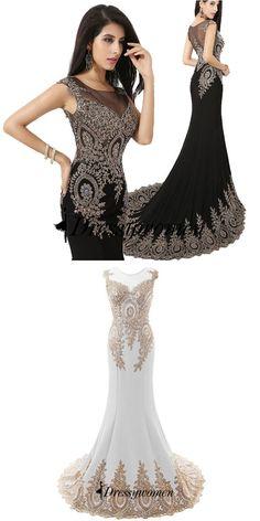 prom dresses, 2016 prom dresses, black mermaid long chiffon prom dresses with gold appliques