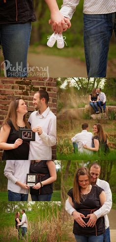 Pickleberry Photography: Pregnancy Announcement Session. maternity, early spring, brick wall, posing, baby shoes,