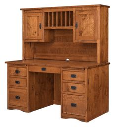 Amish Mission Double Pedestal Desk Stunning for home office or business. Storage, workspace and solid wood quality, this desk has it all. Built to your specifications in choice of wood, stain and hardware. #desk #officefurniture