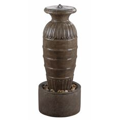 @Overstock - Ernest Outdoor Floor Fountain - Ernest Outdoor Floor Fountain stands at 37 inches high and is finished with a Tuscan Earth color. $225 ish  http://www.overstock.com/Home-Garden/Ernest-Outdoor-Floor-Fountain/9089883/product.html?CID=214117 $225.99