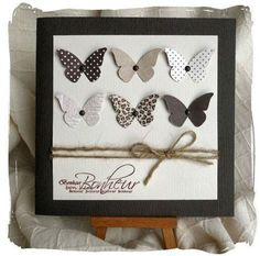 Butterflies, punched from different patterned papers . good idea to use pretty scraps . like the single brad pinning then down. Cute Cards, Diy Cards, Your Cards, Karten Diy, Butterfly Cards, Simple Butterfly, Creative Cards, Scrapbook Cards, Homemade Cards