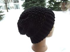 Black Crochet Slouch Hat  Unisex Slouch Hat  by OneInEssence, $12.00
