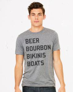 Beer, Bourbon, Bikinis, Boats heather triblend tshirt  #boating #boatup #goboating #kcco #lakelife #wakeboarding #boatlife #onlineshirts #tees #tshirts #boating
