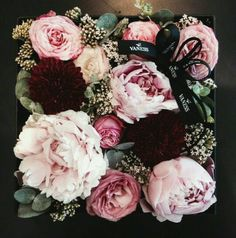 Square Box of Beautiful Dusty Pale Pink Roses and Peonies