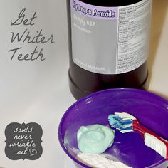 How to Get Whiter Teeth  1.Mix Peroxide and water (Equal amounts) in a cup then rinse for one minute.   2.Swish through every nook and cranny.   3.Rinse with water to remove the taste. yuck.   4.Mix toothpaste, water, and Baking Soda in a small bowl. Brush with the mixture for another minute.     I did this like 5 times (once a week),  and saw the same results as a professional whitener...    [Do not continue as a daily routine]