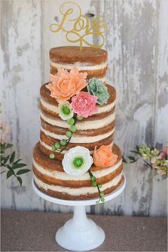 naked wedding cake with sugar flowers