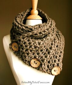 this looks so cozy!  The Original BOSTON HARBOR Scarf  - NOTE Shipping Times - Warm, soft & stylish scarf with 3 large coconut buttons - Taupe. $74.00, via Etsy.