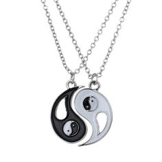 Gold Plated White Gold Finish Ying / Yang Pendants w/ Chains Diamond Solitaire Necklace, Diamond Pendant Necklace, Jing Y Jang, Couple Necklaces, Bff Necklaces, Couple Jewelry, Friendship Necklaces, Triangle Necklace, Stainless Steel Necklace
