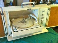 Vintage Magnavox Portable Record Player with Stand