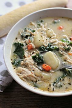 This Chicken and Kale Gnocchi Soup was out of this world good. This recipe was inspired by Olive Garden's Chicken Gnocchi Soup. I added kale because I had some on hand