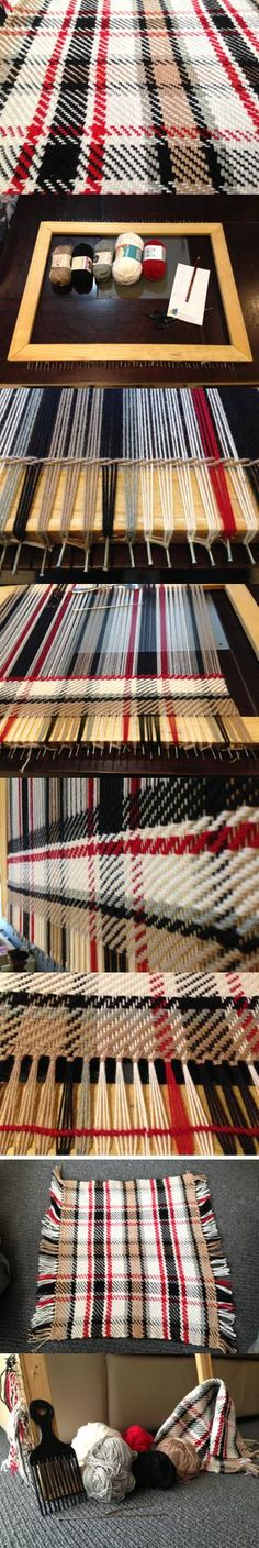 The process of weaving a plaid on a homemade picture frame loom.