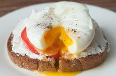 Our Egg and Tomato Feta Toast is a new twist on eggs on toast. We've melted tangy feta cheese on whole wheat toast topped with fresh tomato and poached eggs