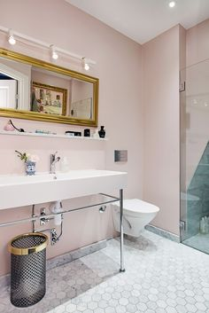 pink and marble bathroom