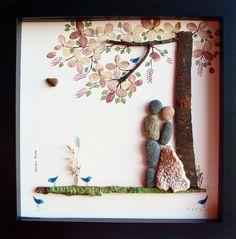 Einzigartige Hochzeit Geschenk personalisierte Geschenk-Pebble Kunst-Hochzeitsgeschenk für Braut-Hochzeit Geschenk-Paare Geschenk-Liebe Geschenk-Braut und Bräutigam Geschenk-Portrait