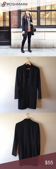 Zara || Black Long Button Front Coat Blazer Gorgeous long black button front jacket. 3 button front with 3 front pockets. Back vent. Great condition. Fully lined. Size 4 fits size small. Zara Jackets & Coats